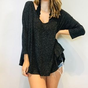 Free People gray speckles oversized long sleeve